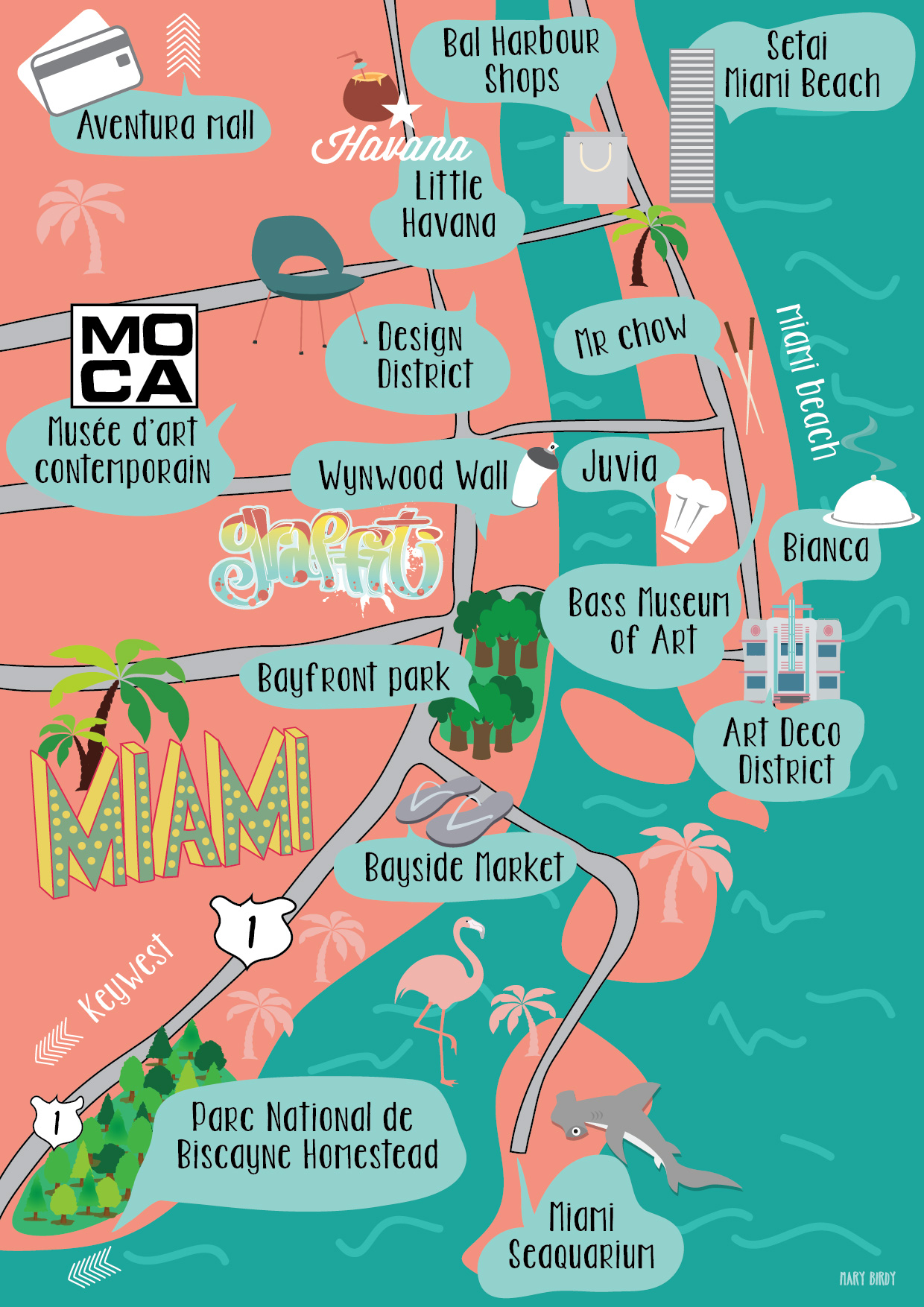 Carte Miami par Mary Birdy-01