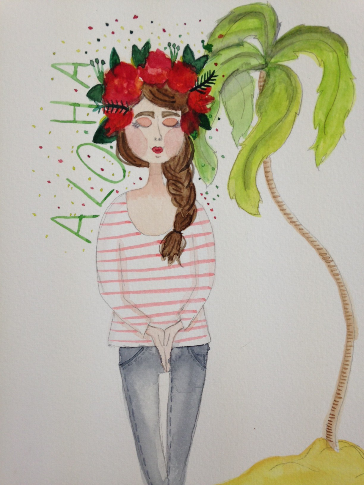 Aloha_watercolor by Mary Birdy